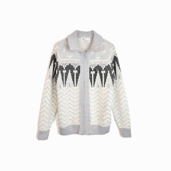 Vintage Nordic Zip Sweater Jacket in Gray Herringbone - men's small