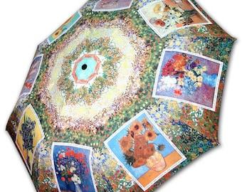 Foldable umbrella - painter Van Gogh: Vases of flowers