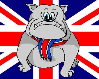 Startled  British Bulldog Union Jack Fridge Magnet 7cm by 4.5cm,