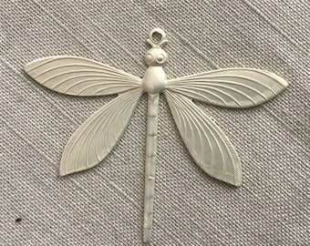 Pearl silver electroplate brass dragonfly pendant 1 pc