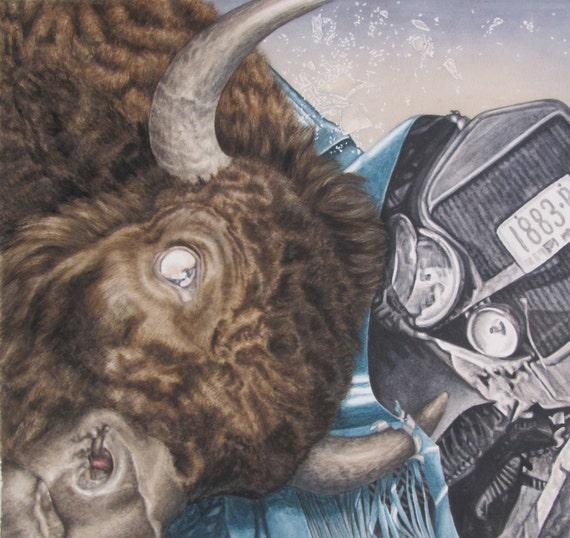 "Versus bison vs Ford model T Antique Car - Large Print of Original Art 19""x20"" watercolor painting"