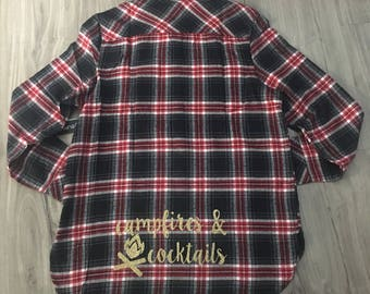 Campfires and Cocktails Flannel Camping Flannels Camping Season Women's Flannels