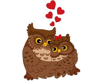 Love Couples Clipart - Digital Vector Owls, Love Couples, Heart, Valentines, Wedding, Love, Owls Clip Art For Personal And