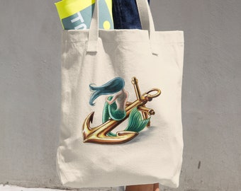 Mermaid Cotton Tote Bag (Printed on one side)
