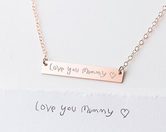 Child's Actual Handwriting Necklace - custom engraved necklace - name necklace for mum - gold bar necklace - child gift to mum