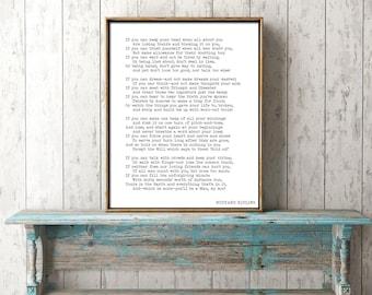 If Poem Art Print, Rudyard Kipling Poem, Motivational Poster, Black and White Art, If Rudyard Kipling Art, Dorm Room Wall Print, Large Art