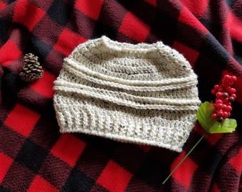 Crochet Messy Bun Ribbed Beanie, Crochet Hat, Ponytail Hat, Winter Hat