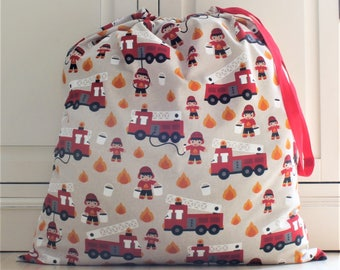 Toy Bag, Laundry Bag in Fireman, Fire Truck, Fire Engine Themed Cotton Fabric - Drawstring