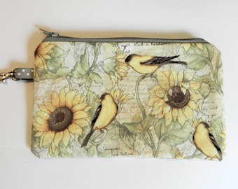 Notion Pouch, 2 Tone Birds with Sunflowers, Knitting notion pouch, crochet notion pouch