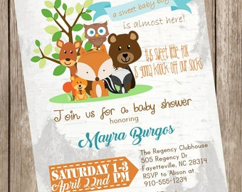 Woodland Creatures Baby Shower Printable Invitation