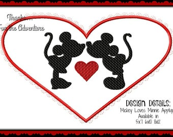 Mickey Mouse loves Minnie Mouse Heart Valentines Day Applique Digital Embroidery Machine Design File 5x7 6x10 8x12