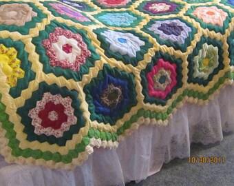 Handmade Grandmother's Garden Quilt
