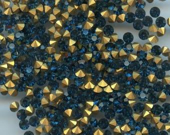 451129 *** 40 vintage rhinestones point back 3,4mm bleu foncé