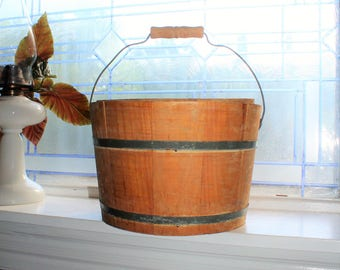 Antique Wood Bucket with Lid and Bale Handle Rustic Farmhouse Decor