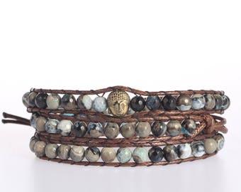 Leather Wrap bracelet India Agate bead bracelet women boho bead wrap bracelet leather bracelet gemstone bracelet Buddha bracelet