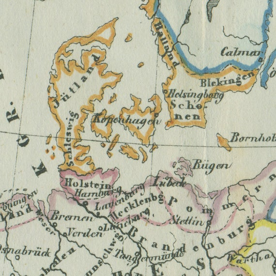 1850s vintage map of europe in the 14th century gumiabroncs Gallery