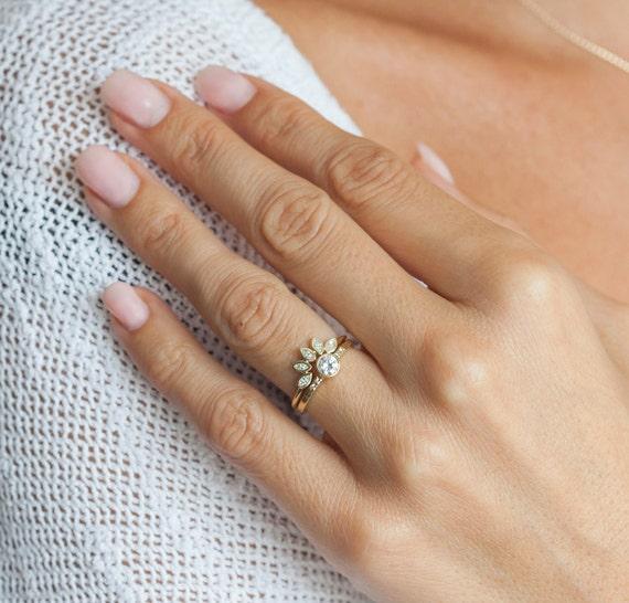 Mini Diamond Crown Ring Wedding Band Marquise Stacking Yellow Gold