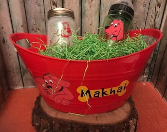 Clifford the big red dog Gift Basket, Clifford Easter Basket, Custom Gift Basket, Clifford Gift Set, Personalized, Clifford the big red dog