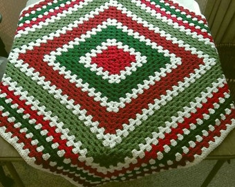 "Crocheted Afghan ""Cheer"" Red, White, & Green"