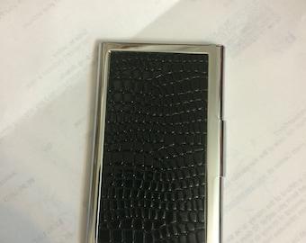 Black or Brown Faux Croc Credit Card I.D. Case Business Card Holder