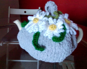 Hand knitted tea cosy , Daisy flowers