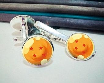 Four Star Dragon Ball Cuff Links Tie Clip, Anime Dragon Ball Z Personalized Gifts for Mens Wedding Jewelry Silver Cufflinks Tie Bar