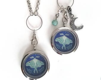 Original Hand painted Luna Moth Locket - Luna Moth Jewelry - Luna Moth Charm - Floating Locket Necklace - Mothers day gift - Wearable Art