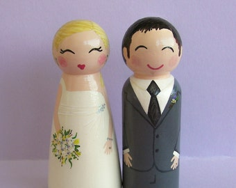 Hand Painted Love Boxes Custom Wedding Bride and Groom Cake Topper Doll Wood
