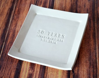 50th Anniversary Gift - Personalized Plate with Names and Date - Gift Boxed
