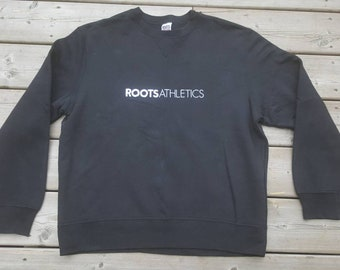 Roots Atheltcis Black Crewneck Sweatshirt Size Medium Men's Canada Beaver Canoe