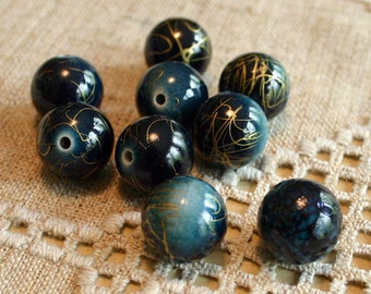 30pcs Bead Acrylic Dark Blue With Gold Swirls 18mm Round