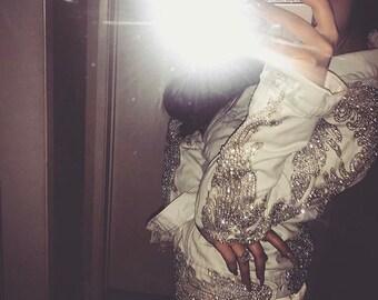 Rhinestone Applique on Mesh (Amber Scholl DIY Kylie Jenner Rhinestone Jean Jacket) #F001