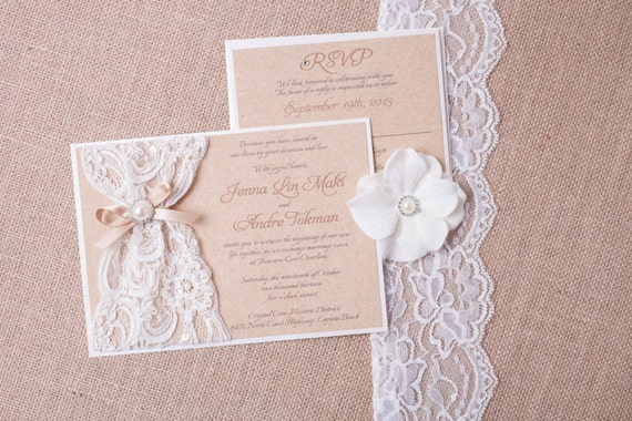 Cheap Shabby Chic Wedding Invitations: ABIGAIL: Burlap Lace Wedding Invitation Vintage Rustic