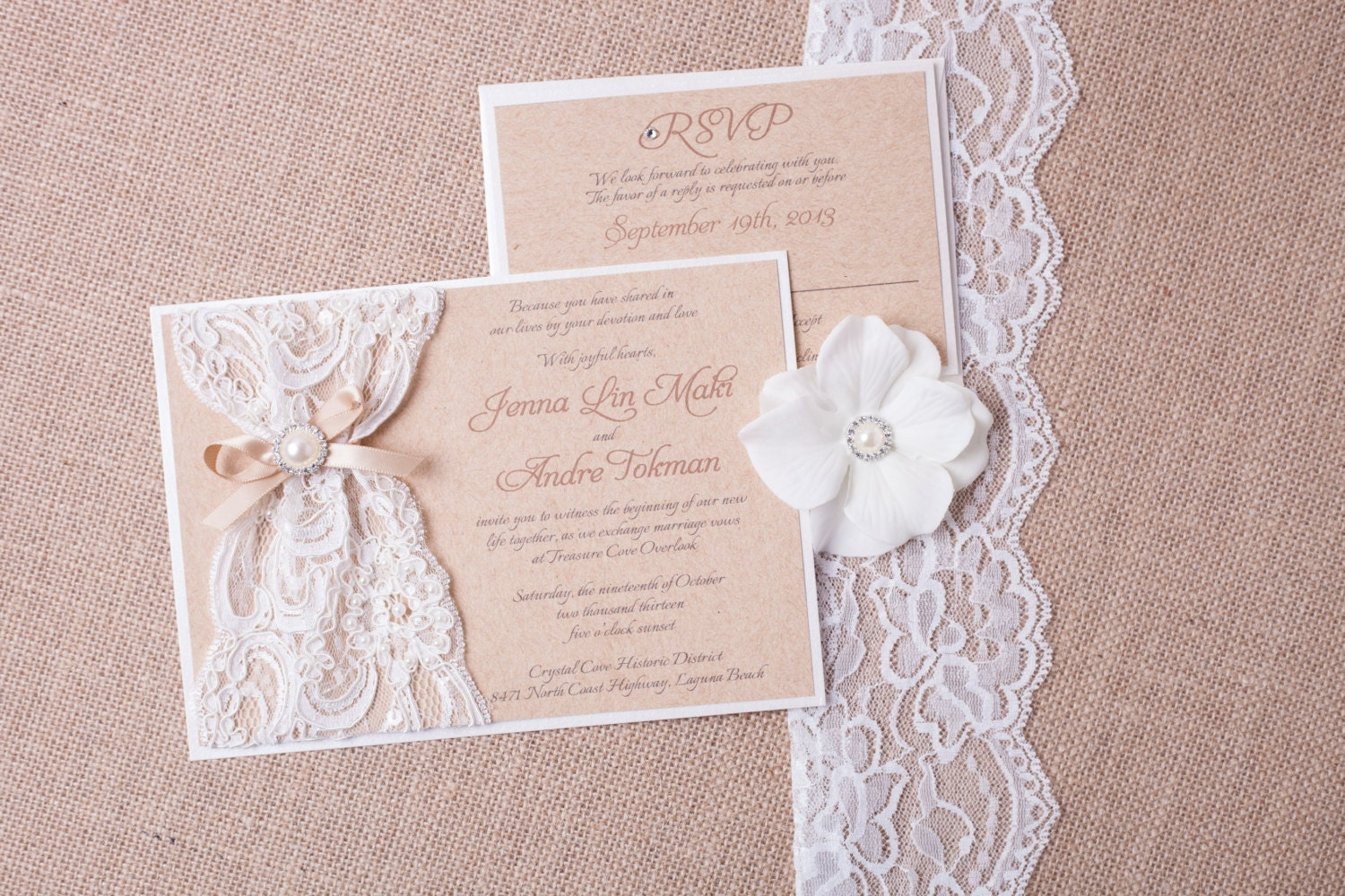 ABIGAIL: Burlap Lace Wedding Invitation Vintage Rustic