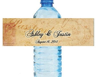 Travel Theme Wedding Water Bottle Labels Great for Engagement Bridal Shower Party Easy to use sekf stick labels