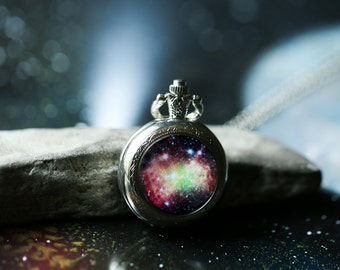 Milky way galaxy necklace outer space jewelry pocket watch dumbbell nebula necklace outer space jewelry pocket watch pendant pretty science gift aloadofball Image collections