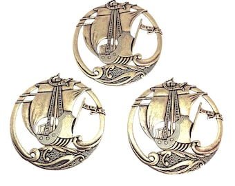 Pirate Ship Stamping, Brass Boat Plaque, Brass Ox, Antique Brass Finish, Bsue Boutiques, Centerpiece, Jewelry Supplies, Item06920