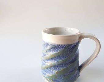 Blue and white mug, carved mug, Blue mug, White mug, Pottery mug