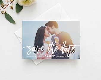 "Save the Date Template INSTANT DOWNLOAD Photo Save the Date, Printable Save the Date, Save the Date Digital File Save the Date ""Handwritten"""