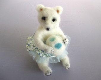 Needle felt polar bear ballerina art doll animal Polar Dancer poseable soft sculpture stocking stuffer