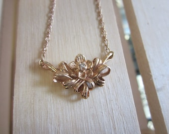 Franklin Mint 14k Rose gold rose pendant, Rose diamond pendant and chain