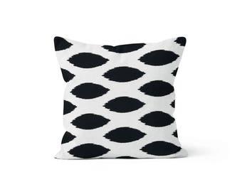 Black Ikat Dot Pillow Cover - Chipper Black  - 18 x 18, 20 x 20 and More Sizes - Zipper Closure - sc1820