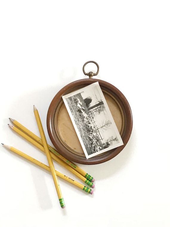 small mid century circle wood picture frame | wall hanging picture frame