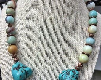 Handmade Bold & Bulky Turquoise Necklass