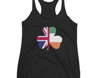 St Patricks Day Irish Flag British Flag Women's Racerback Tank