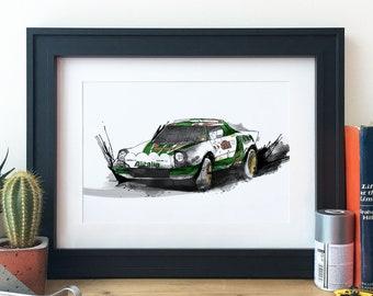 Lancia Stratos Rally Car Illustration