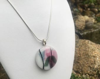 Abstract fused glass necklace