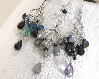 Chandelier earrings - 3 pairs to pick from - spinel moonstone apatite pearl tourmalinated quarts lapis lazuli boho victorian goth sparkly