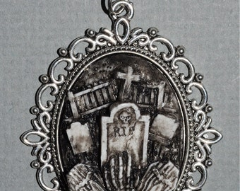Halloween  Jewelry - Creepy Cute Gothic Necklace  - Victorian Cemetery Necklace with Tombstones Caskets and Skeleton Hand- Zombie  Vampire