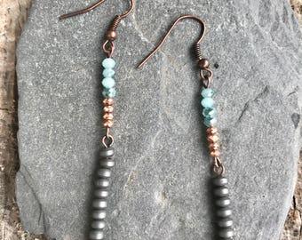 Czech glass, metal bead and copper earrings